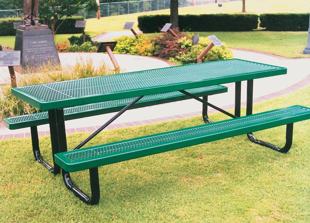 expanded 9 metal regal rectangular portable picnic table. Black Bedroom Furniture Sets. Home Design Ideas