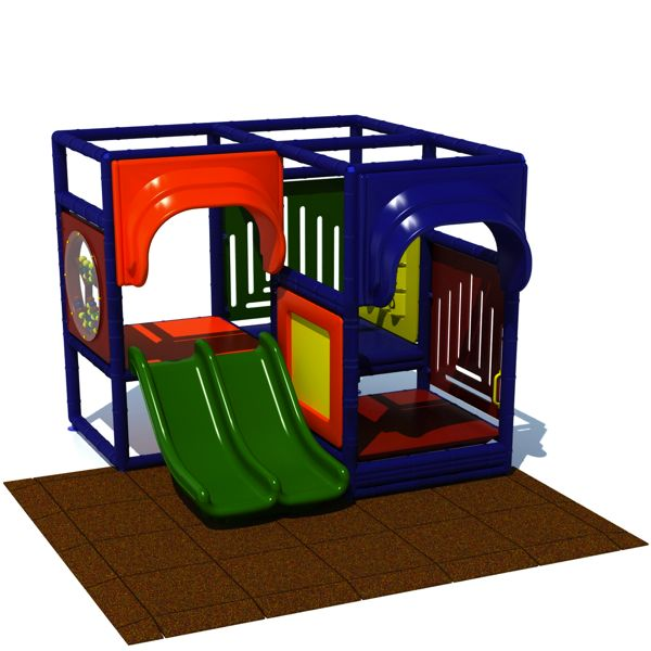 Toddler 2 Indoor Play Structure With Rubber Tiles Aaa